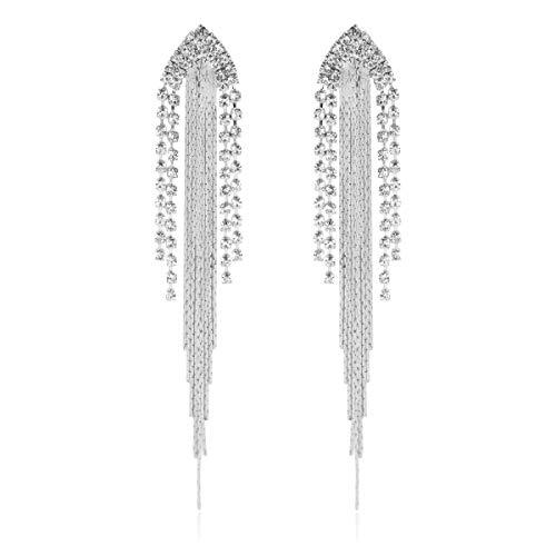 RIAH FASHION Sparkly Rhinestone Chandelier Drop Statement Earrings - Bridal Wedding Crystal Cubic Zirconia Dangles Cascade, Teardrop, Fringe Tassel, Waterfall Duster (Crystal Chain Cascade - Silver) ()