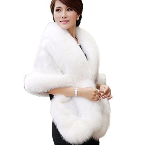 Women's Ivory Faux Fur Coat Wedding Bridal Cloak Cape Shawl for Evening Party