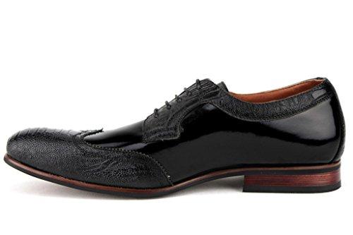 Ferro Aldo Mens 19383PL Patent Leather Wing Tip Crocodile Texture Oxford Dress Shoes Black YeRekNRi