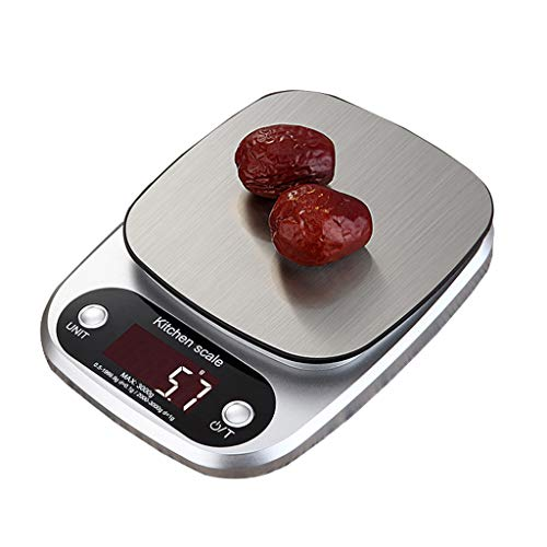 Kitchen Scales,1g-3kg/6Ib Stainless Steel Food Scales Digital Kitchen Scales with LCD Backlit Tare Function Electric Weighing Scales Silver (Color : Silver, Size : 215 * 155 * 30mm) ()