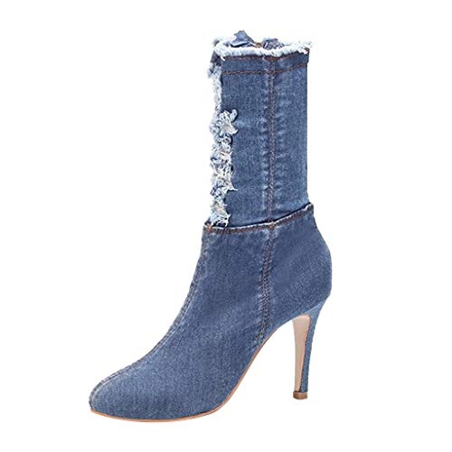 kaifongfu Women High Heel Sandal, Ladies Spring Fashion Pointed Booties Denim Holes High Heels Shoes for Summer(Light Blue,38)