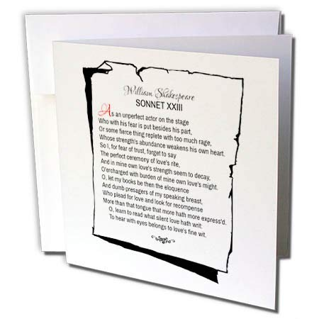 3dRose Alexis Design - Poetry Shakespeare Sonnets - Sonnet 23. As an unperfect Actor on The Stage - 12 Greeting Cards with envelopes (gc_305668_2)