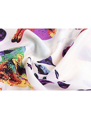 de imprim manche Femme Blanc rond col Letuwj courte Chemise Oiseau 7SPXnqwET