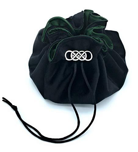 Black Velvet and Forest Green Satin Dice Bag with 8 Sorting Pockets Metal Fastener