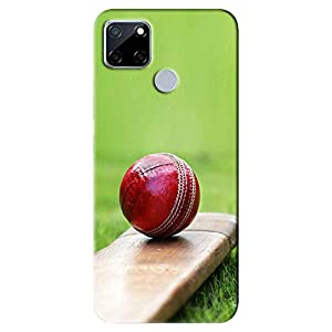 NDCOM® Cricket Ball and Bat Printed Hard Mobile Back Cover Case for REALME NARZO 30A