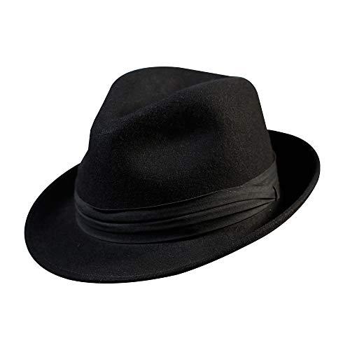 Stiff and Snap Brim 100/% Wool Felt Fedora Trilby Hat With Wide Band