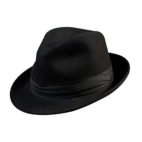 (Fedora Trilby Hat-100% Wool Man's Felt Classic Manhattan Short Brim Cap for Women and Men Gatsby (M:7 1/8-22 1/4inch, Black))
