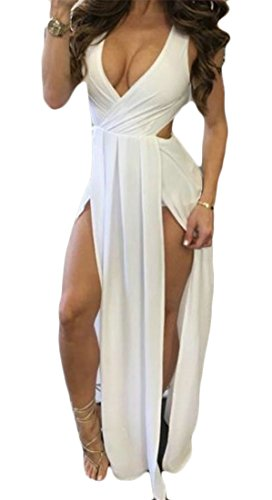 Grandes Femmes Sexy Tang Profonde V Flowy Haute Fente Dos Ouvert Robe Longue Criss Décontractée Blanc