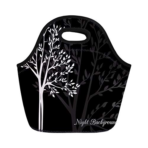 Semtomn Lunch Bags Abstract Black Birch Spring Trees Grove Biology Botany Branch Neoprene Lunch Bag Lunchbox Tote Bag Portable Picnic Bag Cooler Bag ()