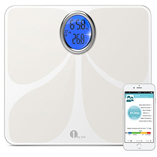 1byone-Digital-Bluetooth-Body-Fat-Scale-with-Phone-and-Tablet-App-to-Manage-Your-Weight-Measures-Body-Weight-Body-Water-Body-Fat-BMI-BMR-Muscle-Mass-Bone-Mass-and-Visceral-Fat
