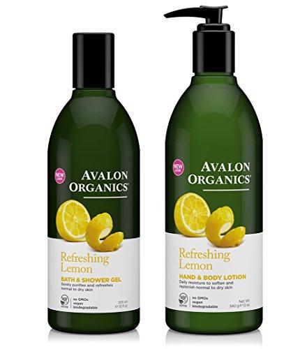Avalon Organics Refreshing Lemon Bath & Shower Gel and Hand & Body Lotion Bundle With Aloe Vera, Oat Bran, Calendula, Chamomile, Lemon and Shea Butter, Vegan & Biodegradable, Paraben Free, 12 oz each