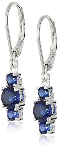 Sterling Silver Created Blue Sapphire 5mm and 3mm Three Stone September Birthstone Leverback Dangle Earrings