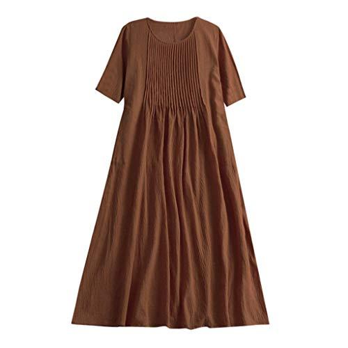 (Sunhusing Women Solid Color Linen Short Sleeve Dress Round Neck Pleated Striped Slim Waist Knee Length Dress Brown)
