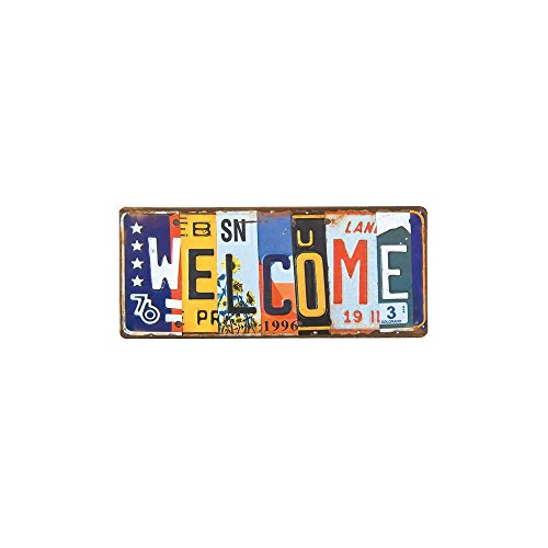 Plates License Recycled - Time Concept Shabby Chic Garage Style Word Tinplate - Vivid License Plate Welcome - Retro Vintage Sign, Home/Wall/Bar/Cafe/Shop Décor