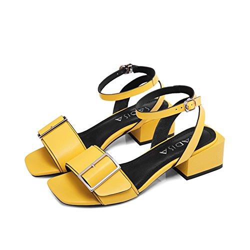 tacones hebilla Palabra estados zapatos de C cuero abiertas y viento Verano cinturón de unidos con cuero europa los Sandalias ZqPxRwtOYn