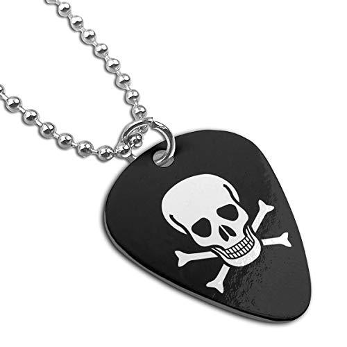 Crossbone Skull Head Custom Guitar Pick Pendant Necklace Keychain