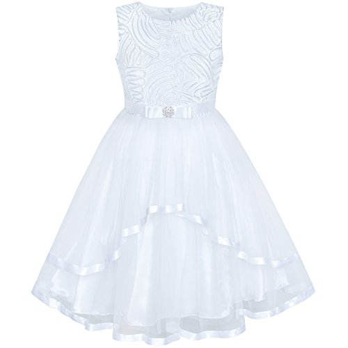 Sunny Fashion Flower Girl Dress White Wedding Party Bridesmaid Dress Size 12]()