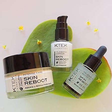 Crema vegana facial antiarrugas mujer Skin Reboot, con activo truebiótico para pieles maduras o sensibles cara y cuello 100% ingredientes veganos piel luminosa hidratada firme y tersa. 50 ml