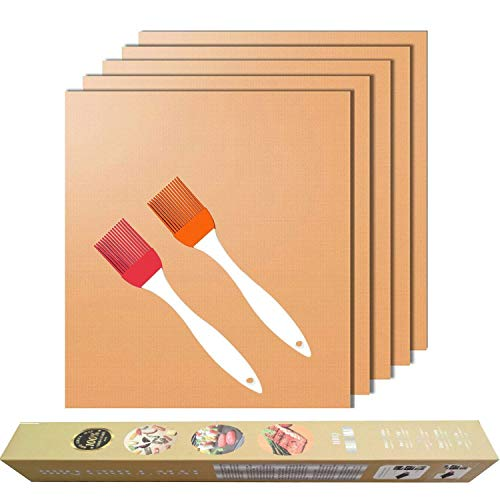 Copper Grill Mat for Gas Grills and Bake Mats Set of 5 Non-S