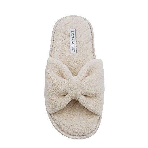 Laura Ashley Ladies Plush Open Toe Spa Slippers with Bow and Memory Foam Insole, Croissant Brown, Large