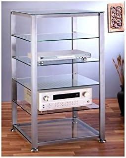 VTI EGR406 6 Shelf Silver Glass Audio Cabinet,Rack