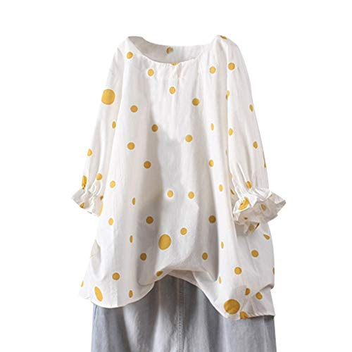 Sunhusing Women's Large Wavy Polka Dot Printed Pleated Ruffle Cuff Casual Long Sleeve Loose T-Shirt Top Yellow