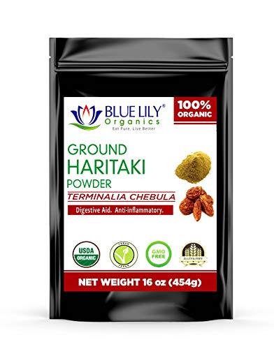 Blue Lily Organics Haritaki Powder (Terminalia Chebula) - Certified Organic 1 Lb Stand-Up pouch, Bulk, Detox, Rejuvenate, Balance of Vata