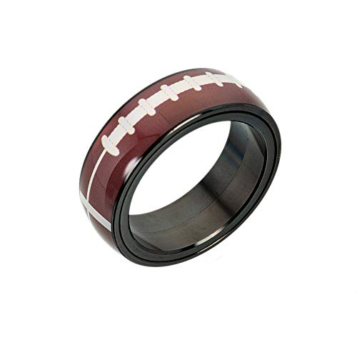 LiFashion LF Mens Womens Stainless Steel Spinner Sports Ring Socccer Basketball Football Baseball Rotary Band Rings for Mom,Dad,Son,Daughter for Commuion Athlete Inspiring Graduation Gift,Size -