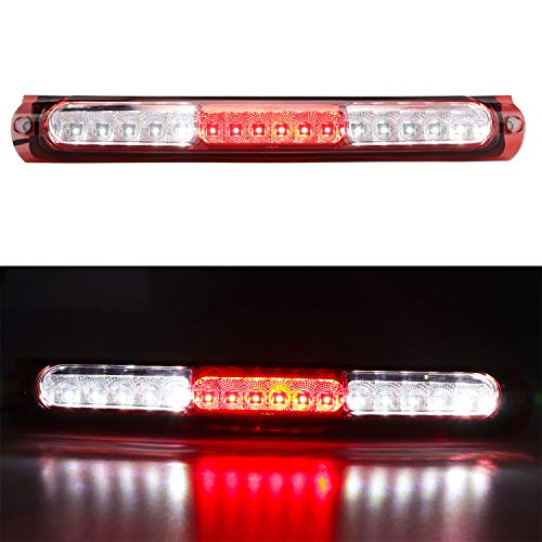 Center Tail - LED Third 3rd Brake Cargo Light Assembly, Rear Roof Center High Mount Stop Tail Light Replacement for 1997-2003 Ford F-150 (Chrome Housing Red Lens)