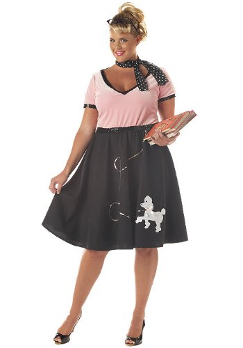 50s Sweetheart Plus Size Costumes (California Costumes Women's 50s Sweetheart Poodle School Girl Plus Size XXL Pink And Black)