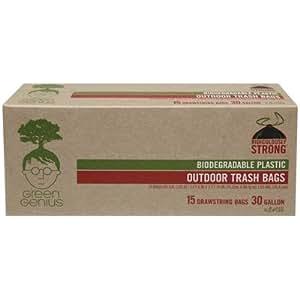 Green Genius Biodegradable Large Trash Bags, Drawstring - 30 Gallon 15 Count
