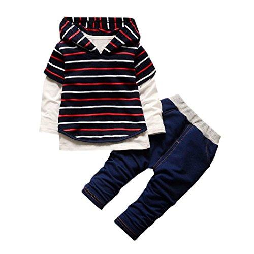 Hoodie Top Jeans (Fineser TM 3Pcs Infant Baby Boys Girls Outfits Set Hoodie Stripe Sweatshirt Tops+Jeans Pants+T-Shirt (Red, 3T))