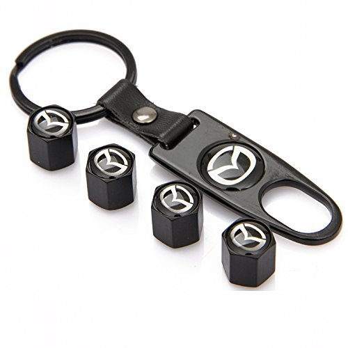 4x Metal Black Car Wheel Tire Valves Dust Stems Air Caps Keychain SS Logo Emblem