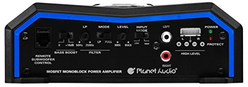 Planet Audio PL1500.1M Monoblock Car Amplifier - 1500 Watts, 2/4 Ohm Stable, Class A/B, Mosfet Power Supply