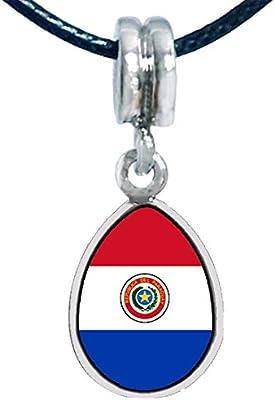 ed1fc0d1fecb GiftJewelryShop plateado plata de la bandera de Paraguay foto ángel  rasgones colgante encantos pulseras del encanto del grano