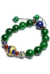 Auspicious Imperial Golden Flying Dragon Green Jade Bracelet - Fortune Jade Jewelry