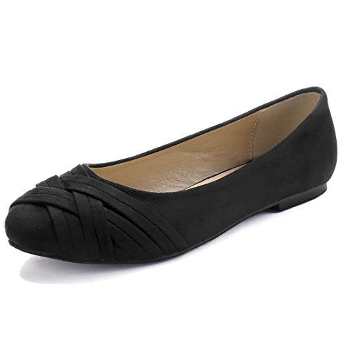 K Crisscross correas Allegra redondeadas Flats Negro Mujeres toe Ballet AwaqdTS