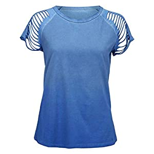 Canifon Women's T-Shirts Short Sleeve Crew Neck Casual Blouses Printed Leaky Shoulders Loose Oversized Summer Retro…