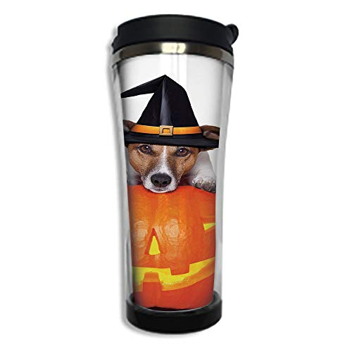 Travel Coffee Mug 3D Printed Portable Vacuum Cup,Insulated Tea Cup Water Bottle Tumblers for Drinking with Lid 14.2oz(420 ml)by,Halloween,Witch Dog with a Broomstick on Large Pumpkin Fun Humorous Hila ()