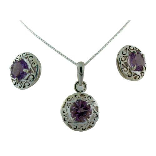 Sterling Silver Filigree Design Gemstone Pendant on 18
