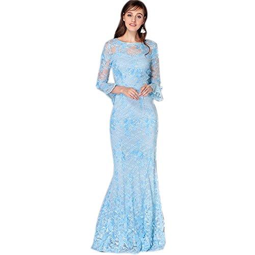 Lace Women`s Fit Blue Long Dress Neck Sleeve Scoop Formal Light cotyledon Slim Dresses qaxTpwTA
