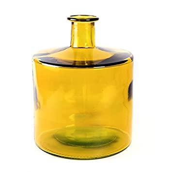 MOAI home & garden Botella de Vidrio Color Amarillo 20 cms Ancho