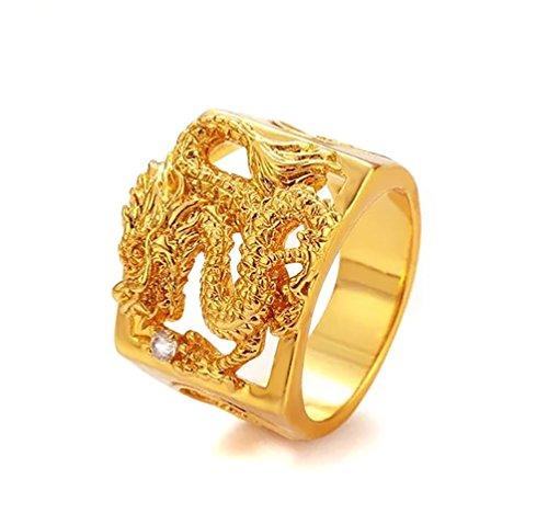 Devastating Designs 24K Gold Filled Men's Women's Dragon Ring and Austrian Crystal (11) 24k Gold Austrian Crystal