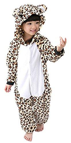 ANGELIENO Unisex Dinosaur Kids Pajamas Animal Costume Sleeping Wear 5 Size (L, Leopard) (Godzilla Size Chart)