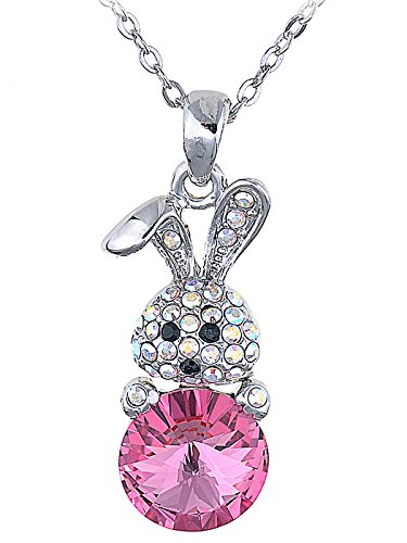 Alilang Cute Curious Animal Bunny Rabbit with Rose or Topaz Crystal Easter Egg Pendant -