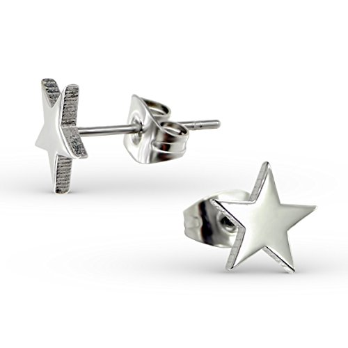 Liara - Stainless Steel Star Ear Studs 316L Surgical Grade Stainless Steel. Polished And Nickel (Stainless Steel Polished Stars)