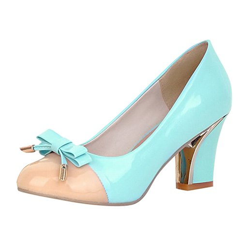 Bows Charm Assorted Colors High Court Shoes Heel Women's Carol Blue Light Shoes Elegant AqYwHn