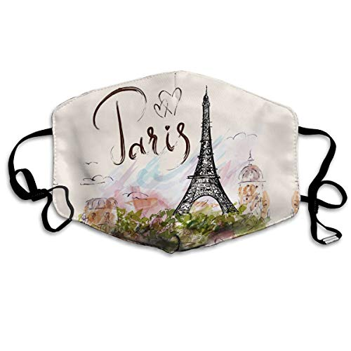 The Famous Paris Eiffel Tower Unisex Mouth Mask Adjustable Anti Dust Face Mouth Mask,Black Earloop Face Mask For Cycling Camping Travel