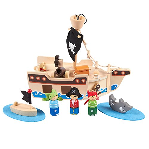 Wooden Pirate - Blue Panda Pirate Toys and Kids Pirate Ship Playset - Wooden Pirate Figurines with Fun, Ocean-Themed Accessories, 11 Piece Set for Children Ages 3 and Up