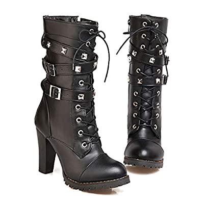 New Side Zipper Rivet Belt Buckle in The Boots high Heel Martin Boots Thick with